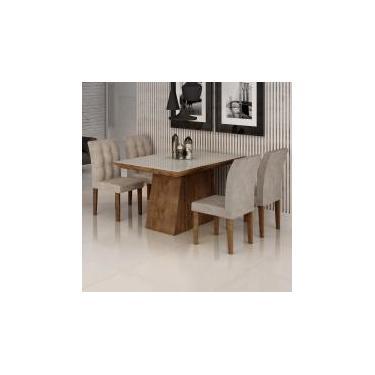 Conjunto Sala de Jantar Mesa Sevilha I Tampo de Vidro 4 Cadeiras Vitoria Cel Móveis Chocolate/Pena 84 -