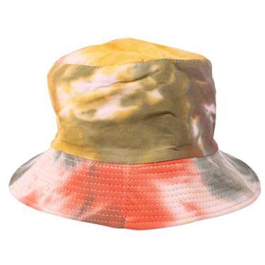 KESYOO Chapéu Pescador Tie Dye Chapéu Graffiti Balde Verão Chapéu de Sol de Aba Larga Embalável, Laranja, tamanho �nico
