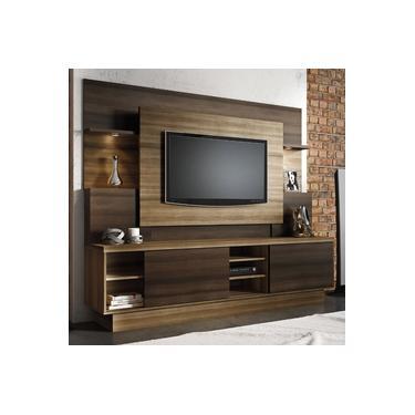 Imagem de Estante Home para TV até 55 Polegadas Aron Siena Móveis Capuccino Wood / Ébano