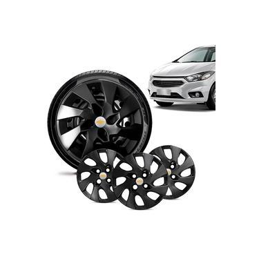 Jogo 4 Calota Chevrolet GM Prisma 2013 14 15 16 Aro 14 Preta Brilhante Emblema Prata