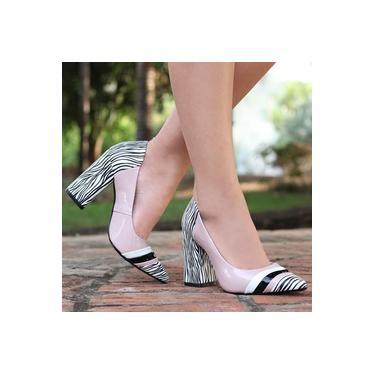 Sapato Bico Fino Camminare Zebra/Vz Angel/Vz Branco/Vz Preto Feminino 6161-05013862