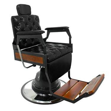 Cadeira de Barbeiro Reclinável Hawk Capitonê - Preto - PRONTA ENTREGA
