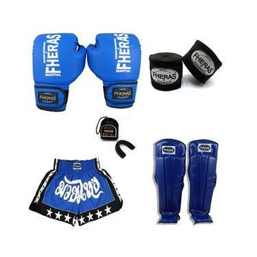 Kit Boxe Muay Thai Luva Caneleira Bucal Shorts Bandagem 14oz