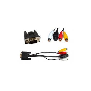 Cabo Adaptador Conversor VGA para 3 RCA + S-Video - 10 cm - (VGA M X 3RCA F) - CB0179