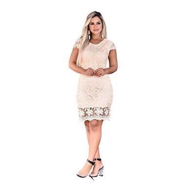 Vestido Feminino Tubinho Festa Renda Moda Evangélica Casamento (M/38-40, Creme) - ZL0170
