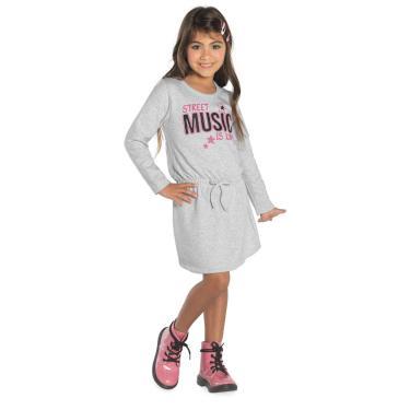 Vestido Infantil Feminino Manga Longa Rovitex Kids Cinza 16