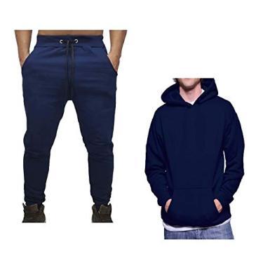Conjunto Calça e Blusa Frio Moletom Peluciado Masculino (AZUL MARINHO, G)