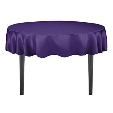 Imagem de Toalha de mesa redonda de cetim 178 cm da LinenTablecloth roxa