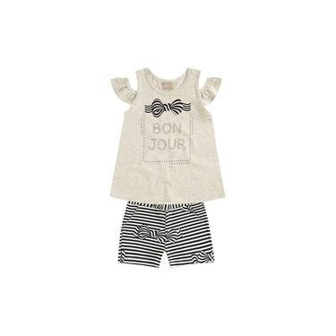 Conjunto Milon Blusa Shorts Laços Preto 10838 V18