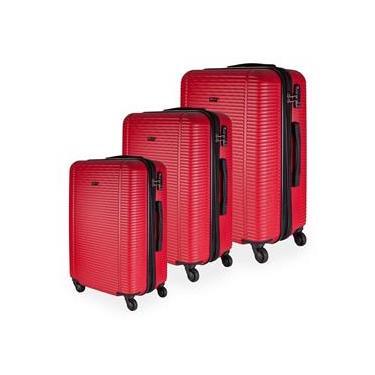 Conjunto de Malas de Viagem Expansível em ABS GoSuper Munique Cadeado Embutido 3Pcs P/M/G Vermelha