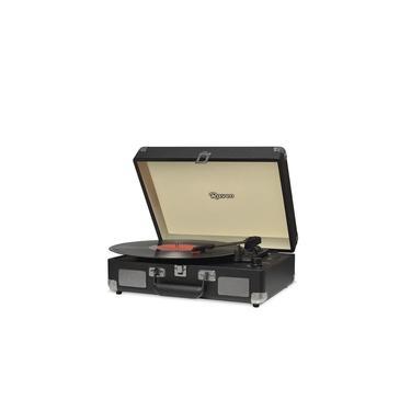 Vitrola Retrô Raveo Sonetto Chrome Black (Preto), Toca Discos, Entrada USB, Bluetooth, Reproduz e Grava Vinil