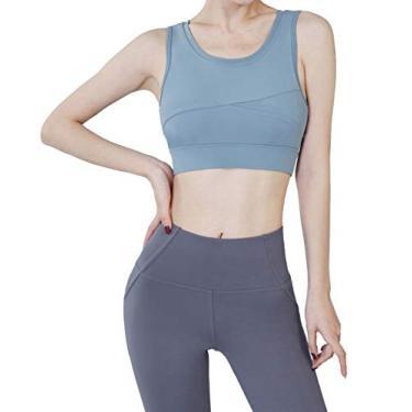 Red Plume Sutiã esportivo feminino acolchoado sem costura com suporte de alto impacto para ioga, academia, fitness, costas nadador, Azul, M