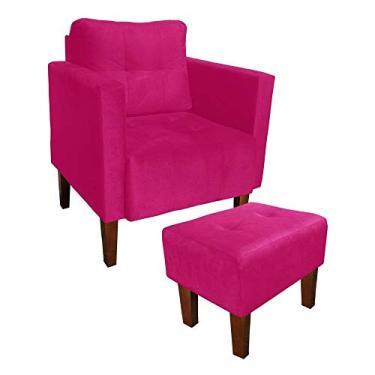 Kit Poltrona e Puff Decorativo Lívia Para Sala e Recepção Suede Pink - D'Rossi
