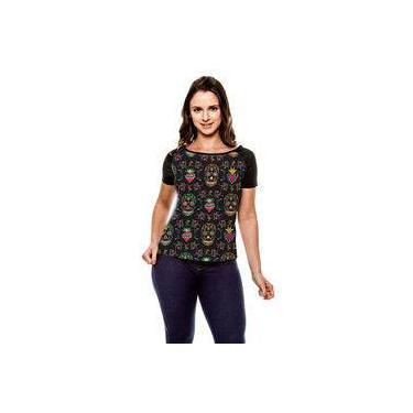 Camiseta Raglan Caveira Floral Garden Baby Look