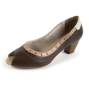 Sapato Scarpin Salto Grosso Linha Social Elegance Miuzzi - 3506 - Tabaco