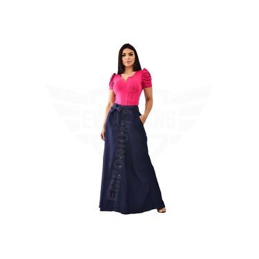Saia Longa Jeans com botões Frontal - EWF Jeans – Azul escuro