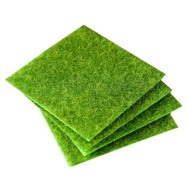 Imagem de Hemoton 4 peças de gramado artificial grama grama falsa tapete de grama micro paisagem, grama sintética, tapete de grama sintética, 15 x 15 cm, remendo de grama falsa para decoração de jardim, gramado