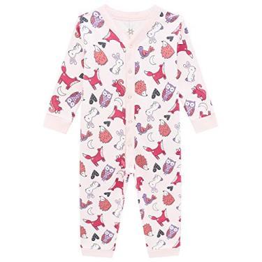Macacao pijama infantil moletom flanelado meninas raposa Cor:rosa;Tamanho:3 anos