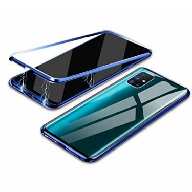 Hicaseer Capa para Galaxy M51, capa protetora transparente antiarranhões magnética antiderrapante para Samsung Galaxy M51 - azul