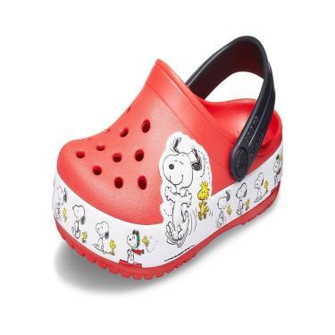 Sandália Infantil Crocs  FL Snoopy Woodstock CG K  Vermelho  unissex