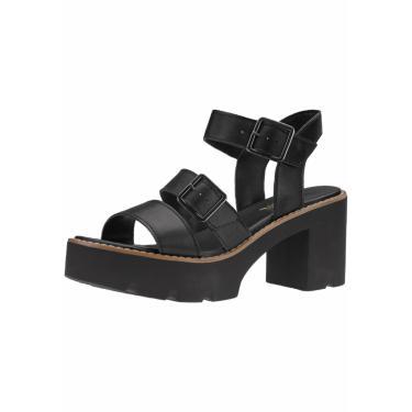 Sandália Plataforma Tratorada Gigil Fivelas Preto  feminino