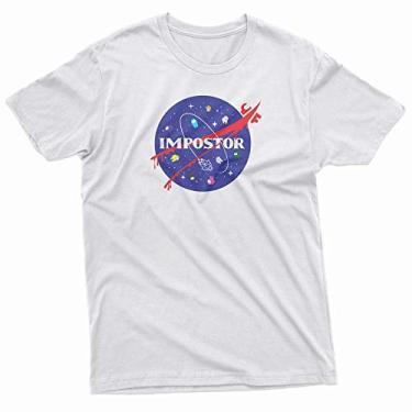 Camiseta Básica Unissex Algodão Among Us Impostor NASA Game Tumblr Space (Azul Bebê, XG)