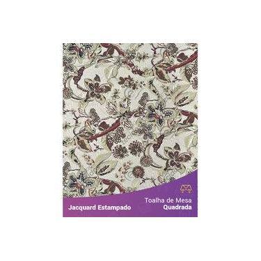 Imagem de Toalha De Mesa Quadrada Em Tecido Jacquard Estampado Floral Bege E Marsala