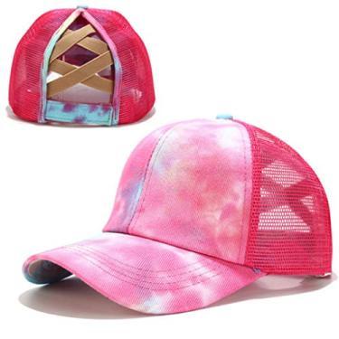 Beerty Boné de beisebol feminino, colorido tie-dye boné de beisebol rabo de cavalo cruzado nas costas, chapéu de sol com fecho traseiro, Rosa, 56-60cm(22.05-23.62in)