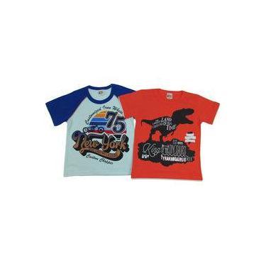 Camiseta Infantil Masculina Manga Curta Kit Com 2 Unidades Azul E Laranja