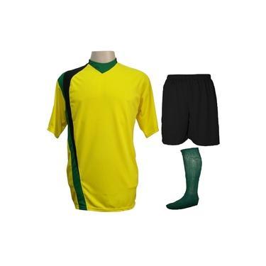 Uniforme Esportivo Completo modelo PSG 14+1 (14 camisas Amarelo/Preto/Verde + 14 calções Madrid Preto + 14 pares de meiões Verde + 1 conjunto de goleiro) +