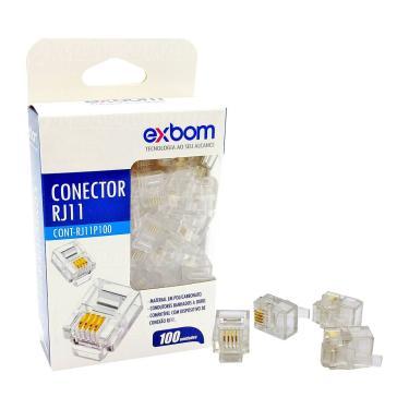 Conector RJ11 4P4C 4 Vias Suporta PABX e Linha Convencional de Telefonia Exbom RJ11P100 Cx c/ 100 Un
