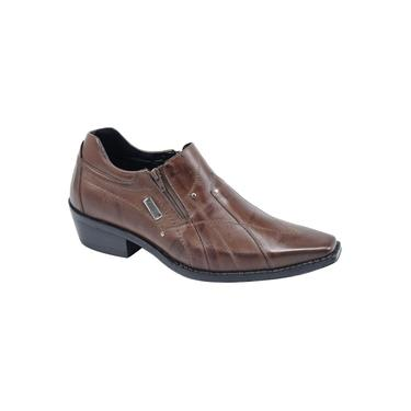Bota Social Country Texana Masculina cano curto couro legítimo confortável cor amêndoa marca Pierrô