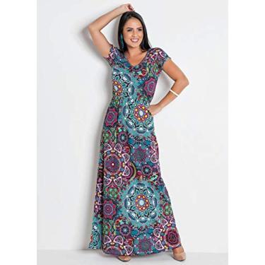 Vestido Longo Moda Social Mandala com Decote V