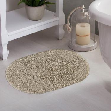 Imagem de Tapete De Banheiro Oval Myssi Bege - Corttex