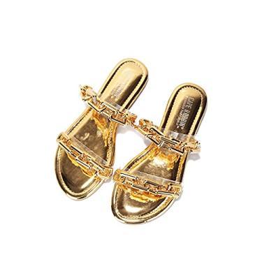 Imagem de Cape Robbin Goldie Sandals para mulheres, mules slip-on sapatos femininos, Dourado, 9