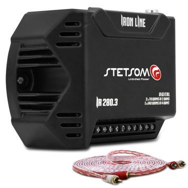 Módulo Amplificador Stetsom Iron Line IR280.3 280W RMS 3 Canais 2 Ohms + Cabo RCA Stetsom 5M 2mm