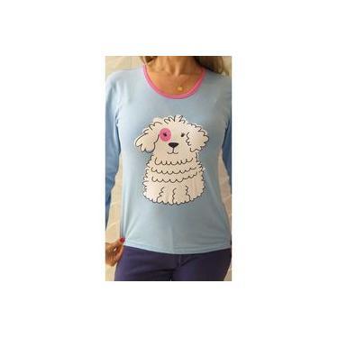 Pijama feminino inverno longo de frio 100% algodão cachorro azul