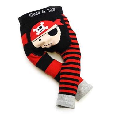 Meia Calça Legging Infantil Pirata 6-12 meses, Blade and Rose, Vermelho