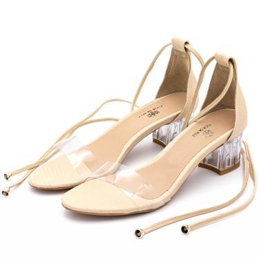 Sandália Salto Transparente  Flor da Pele Amêndoa  feminino