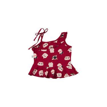 Conjunto Infantil Malha Estampa Digital Gatinhos e Índigo Júlia com Bordados - Vermelho