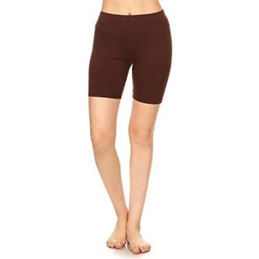 Shorts de ciclismo Hajotrawa feminino de algodão e Plus Fitness elástico para ioga, Marrom, S