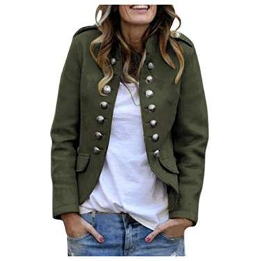 Jaqueta feminina bomber Fainosmny blazers curtos ternos casaco cardigã suéter retrô botões bolsos casacos casacos, Army Green, X-Large