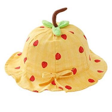 ABOOFAN Chapéu de sol respirável Proteção UV ao ar livre verão morango Chapéu de pescador Chapéu de proteção solar de praia para bebê (amarelo) Presente