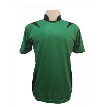 Jogo de Camisa com 14 unidades modelo Palermo Verde/Preto + 1 Goleiro + Brindes