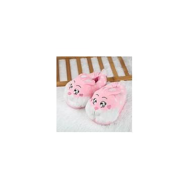 Pantufa Infantil de Pelúcia em Veludo Macio Quente e Antiderrapante Chinelo em Formato de Coelho Com Solado Antiderrapante Para Uso Doméstico
