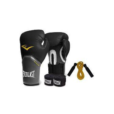 Kit Boxe Everlast - Luva Preta 12oz + Bandagem + Corda d3b13493179f4