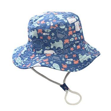 PRETYZOOM Chapéu de praia de verão azul de 55 cm com design de vida marinha chapéu de sol Suncreen chapéu de pesca respirável para crianças ao ar livre com cinto de verão