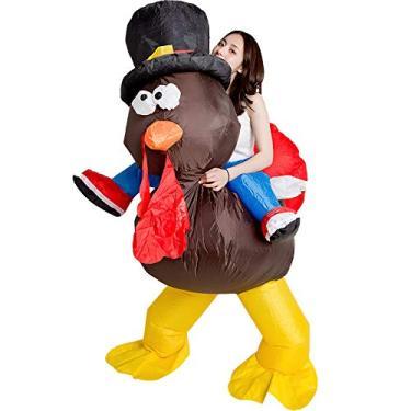 Imagem de HEITIGN Fantasia divertida de festa inflável, roupas infláveis de peru de Ação de Graças de Natal, roupas infláveis para cosplay de animais, fantasia divertida de peru inflável para fantasia de peru para fantasia de festa de cosplay