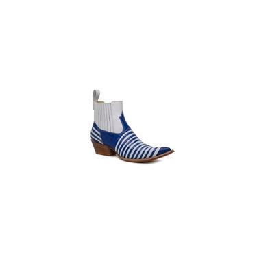 Imagem de Botina Masculina Couro Jacare Imitacao Azul E Verniz Branco - Silverado Botas