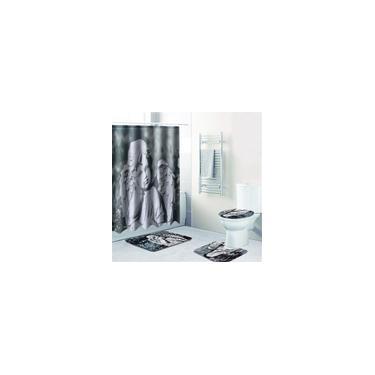 Imagem de 4 peças de cortina de chuveiro Conjunto de tapete de banho Tapetes Capa de tampa de banheiro Chuveiro à prova d'água Cortina de banho antiderrapante Tapete de banheiro doméstico